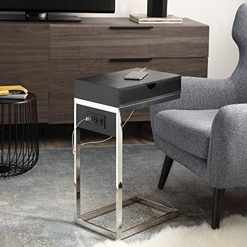 Loft Lyfe Adorna End Table - 2 USB Charging Ports, 2 Outlets, Power Plug | Black/Chrome