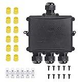 IWILCS Caja de distribución impermeable IP68, caja de derivación, resistente al agua, caja de derivación, manguito de cable, conector exterior M25, 4 mm - 14 mm, color negro