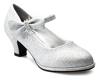 Olivia K Girls Bow Mary Jane Kitten Heel Pumps  Toddler/Little Girl  Silver GLT 10