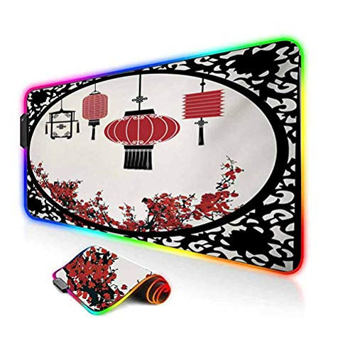 RGB Gaming Mouse Pad Mat,Lanterns with Japanese Sakura Cherry Blossom Trees Round Ornate Figure Graphic Computer Keyboard Desk Mat,35.6'x15.7',for Game Players,Office,Study Red Beige Black