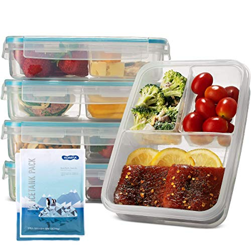 Komax Biokips Set-of-5 Bento Lunch Box  37-oz Meal Prep Containers Microwavable  3 Compartment Divided Lunch Containers  BPA-Free Bento Box for Adults  Dishwasher Freezer Safe  2 Free Ice Packs