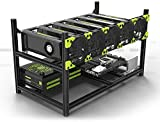 TTGULRR Profesional 6 GPU Miner Mining Case Aluminio Frame Mining Rig Negro con 5 ventiladores