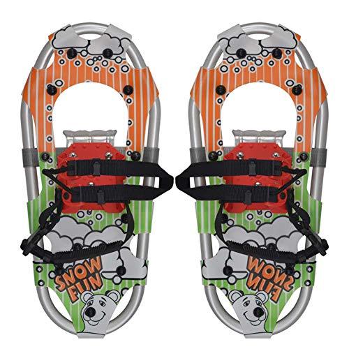 Qnlly Zapatos de Las Tierras Altas de Raquetas de Nieve de 16 Pulgadas de Aluminio Ligero de Terreno Ondulado Nieve del Oro con Bolsa de Transporte,Naranja