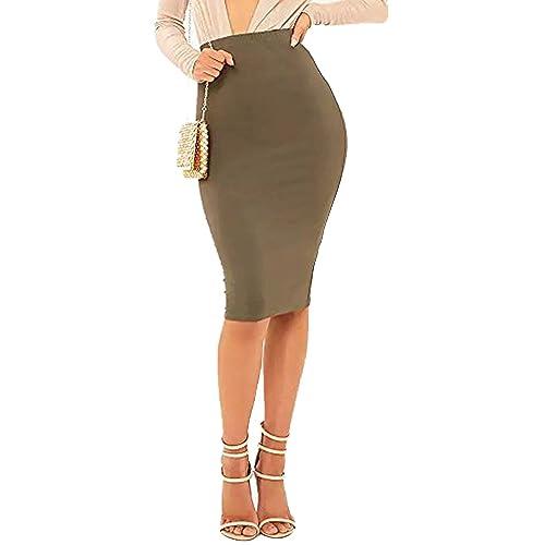 e89830dd69142 Khaki Pencil Skirt  Amazon.co.uk