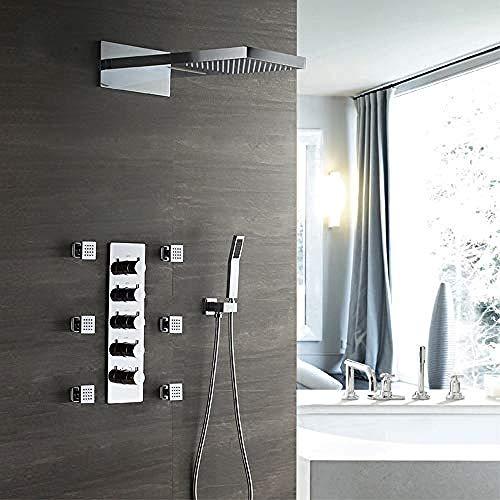 Verdeckte Thermostat-Duscharmatur Duschwand Boxed Kupfer Vorinstallierte Box Zwei Funktion Top Spray Baden