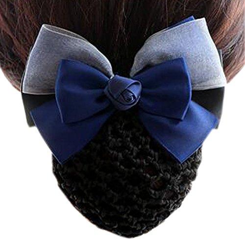 Maillot élastique à la mode pour dames Maillot de cheveux Hair Snood Bowtie Mesh, 4 Bleu-gris