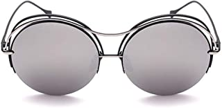LUKEEXIN Graceful Round Metal Rimmed Sunglasses UV Protection for Outdoor Driving Vacation (Color : Sliver)