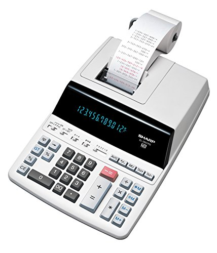 Sharp Druckender Tischrechner EL-2607PGGYSE (12-stellig,  schwarz rote Druckfarben) grau
