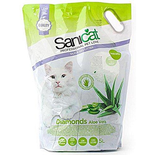 Sanicat Diamanti in gel di silice all'aloe vera, 5litri, lettiera per gatto che non si agglomera