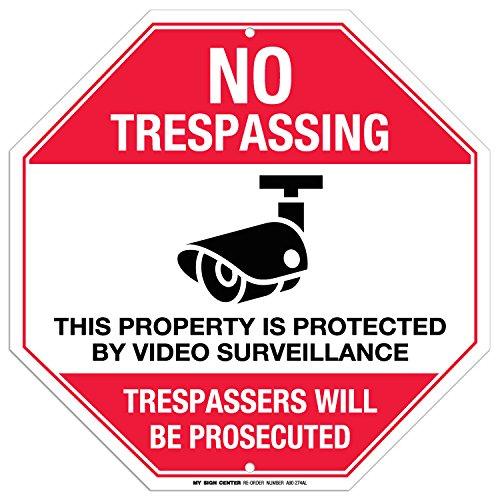 PAS DE Entrés cette Propriété est protégé par Surveillance vidéo Signe – 30,5 x 30,5 cm – Octagon .040 antirouille Aluminium – Made in USA – Protection UV et résistant aux intempéries – A90–274 AL