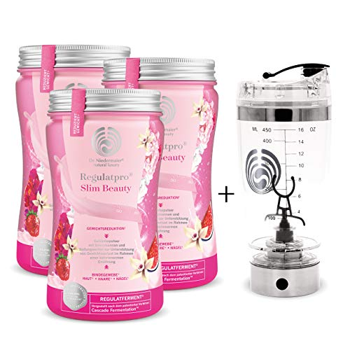 3x Regulatpro Slim Beauty + Mixer • Abnehmdrink mit Hyaluron • 3x 540 g = 1.620 g • Vanille Erdbeer