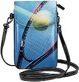 Ahdyr Petit sac à main pour téléphone portable pour femme en cuir raquette de tennis à l'intérieur des fentes pour cartes sacs à bandoulière portefeuille sac à bandoulière