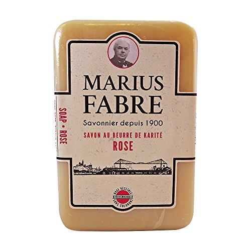 Marius Fabre Savon de Marseille – Savonnette de 250g à l'huile d'olive. Savonnette à la rose, enrichie au beurre de karité. Savon base végétale - sans colorant