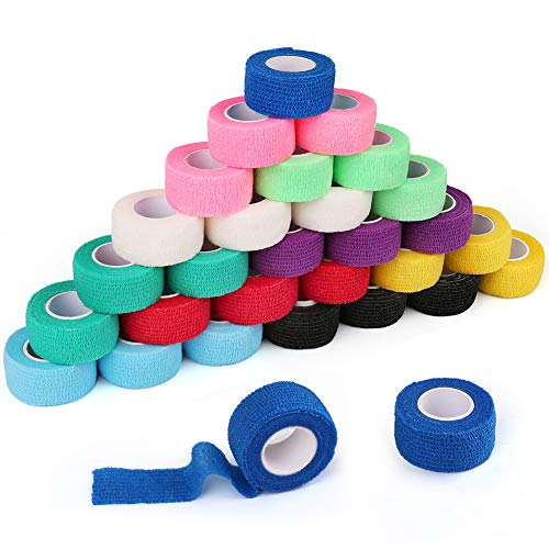 """30 Packs 1"""" x 5 Yards Self Adhesive Bandage Wrap, Self Adherent Wrap, Medical Tape, First Aid Tape, Athletic Cohesive Bandage, Sports Tape, Medical Supplies for Finger, Ankle, Wrist Sprains &Swelling"""