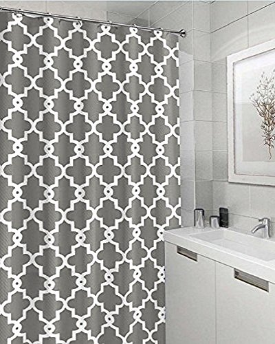 High Quality Shower Curtain with 12 Hooks - Waterproof Mildewproof Polyester Fabric, Classic Trellis Pattern 180 x 180 cm
