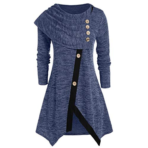 Review Uneven Hemline Hoody Shirt Pocket Tunic Long Sleeve Casual Top, LIM&ShopWomens Cowl Neck Form...