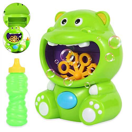 MW Máquina de Burbujas Soplador de Pompas de Jabón Duradero Automático Forma de Hipopótamo para Niños Baño Jueguete Fácil de Usar para Navidad Fiestas Barbacoa Boda No Baterías