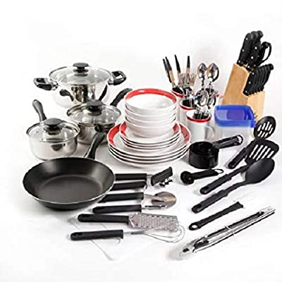 Gibson 98141.83RM Home Essential Total Kitchen 83-Piece Combo Set Red Color by Gibson Home 98141.83RM