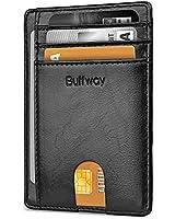 Buffway Slim Minimalist Front Pocket RFID Blocking Leather Wallets for Men Women - Alaska Black
