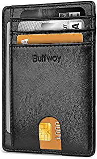 Buffway Slim Minimalist Front Pocket RFID Blocking Leather Wallets for Men Women