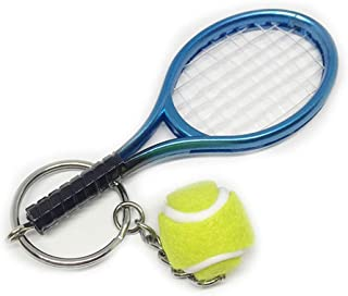 Axmerdal Mini Tennis Racket Keychain Key Ring Creative Fashionable Alloy Tennis Ball Racquet Split Ring Sport Style Keychain Sport Lovers Gift Prize Set Exquisite & Lightweight (Blue)