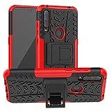 LFDZ Alcatel 3L 2020 Hülle,Abdeckung Cover schutzhülle Tough Strong Rugged Shock Proof Heavy Duty Hülle Für Alcatel 3L 2020 Smartphone(Not fit Alcatel 3L 2019),Rot