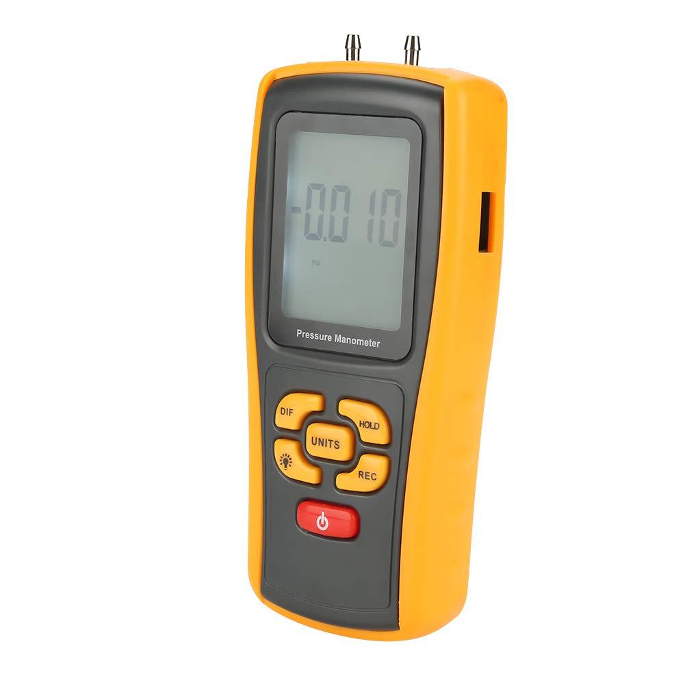 Manómetro digital Manómetro de presión portátil con pantalla LCD 11 unidades de prueba Medidor de presión de 150 kPa para presión del ventilador Velocidad del viento Presión del horno