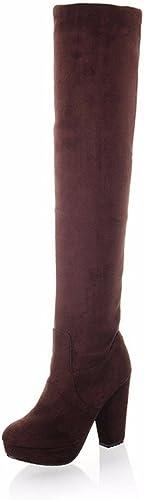 RFF-Wohommes chaussures Fashion High-Heeled bottes Knee Stretch Round Suede Biker bottes