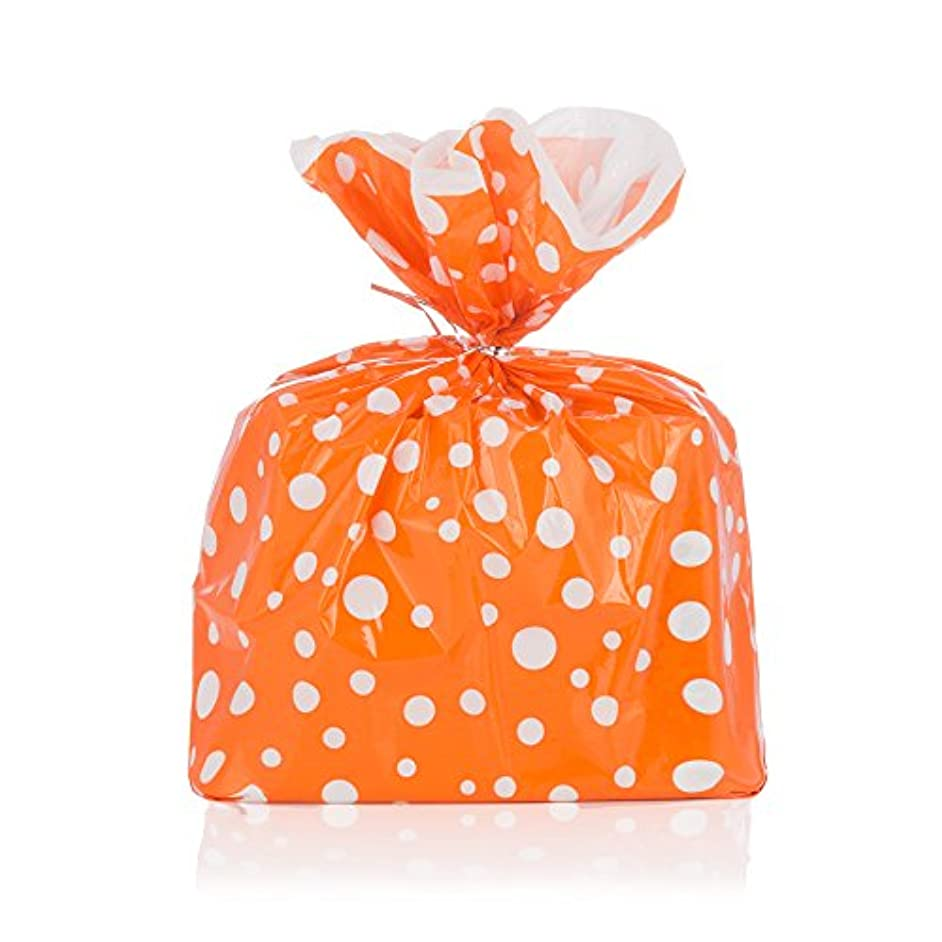 Orange Polka Dot Gift Wrap Bags with Silver Metallic Ties - Package of 8 - Epecially Good for Halloween Parties - Reusable Biodegradable Plastic - 17.75 By 19 Inches