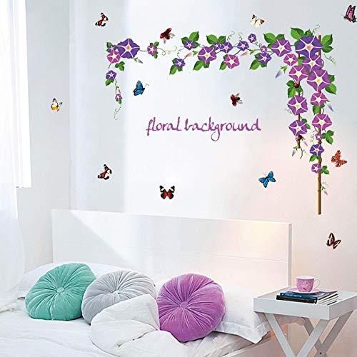 Pegatinas de pared para la decoración de la habitación de la cocina, púrpura Morning flores Etiqueta de oficina Romántica decoración del refrigerador Decoración de baños Adorno Acrílico Cumpleaños