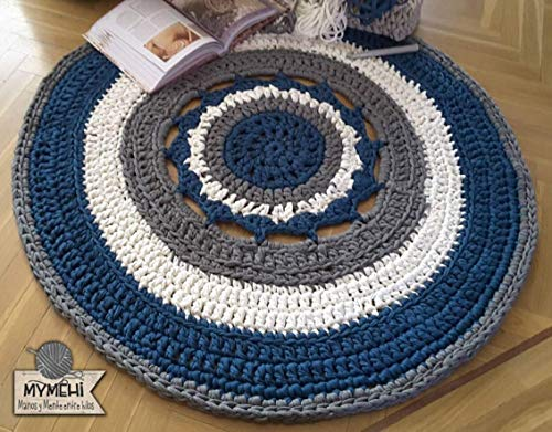 Alfombra redonda mandala hecha a mano en trapillo grueso azul, gris y...