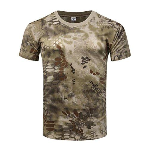 YuanDian Homme Camo Armée Extérieure Tactique T-Shirt Engrener Militaire Manches Courtes Séchage Rapide Camouflage Randonnée Haut Chemise Sablé Python Pattern M