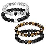 Jstyle Bijoux 4 Pcs(2 Paires) Bracelet Couples Perles d'Énergie Onyx Noir Mat Pierre Oeil de Tigre Unisexe Bracelets pour Les Hommes et Les Femmes 8mm