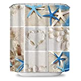 Payanwin Duschvorhang, Seesternen-Design, Muschel-Design, wasserabweisend, schwer gewichtet, 72 x 72 cm Traditionell 72in Color01