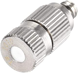 uxcell Brass Misting Nozzle - 3/16-inch Threaded 0.1mm Orifice Dia Fogging Spray Head for Outdoor Cooling System - Silver Tone