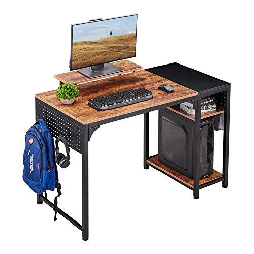 Amazon Brand - Umi - Escritorio para ordenador portátil de estilo industrial con bolsa de almacenamiento y estantes para oficina en casa, 120 x 60 x 76 cm, roble vintage