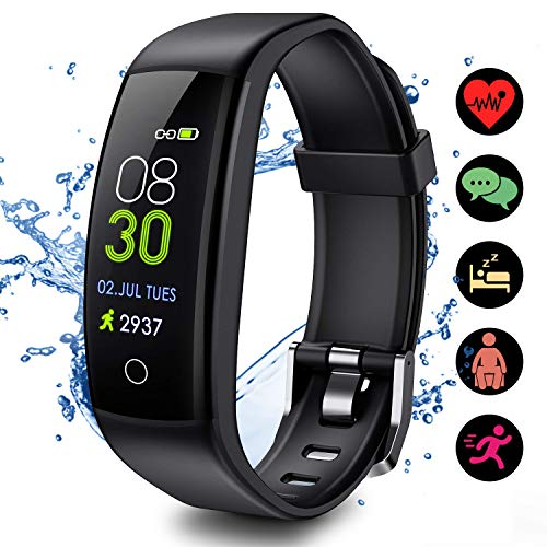 ELEGIANT Fitness Tracker, Activity Tracker Watch with Heart Rate Monitor, IP67 Waterproof, Smart Fitness Band with Sleep Monitor, Calorie Counter, Pedometer Watch Color Screen for Kids Women and Men
