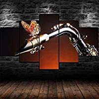 5パネルサックス楽器のモダンな蝶風景アートワークキャンバスプリント抽象的な写真キャンバスの写真絵画へのセンセーション壁の家の装飾の壁のアート