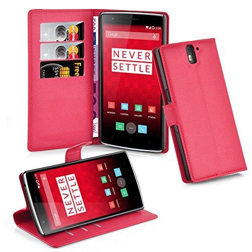 Cadorabo Funda Libro para OnePlus One en Rojo Carmin – Cubierta Proteccíon con Cierre Magnético, Tarjetero y Función de Suporte – Etui Case Cover Carcasa