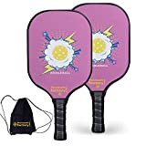 Pickleball Set, Pickleball Paddles, Pickleball Paddle Set of Two, Pink Cloud Graphite Pickleball Paddle with Paddle Bag as Pickleball Gifts for Women Men Beach Ball Game Outdoor