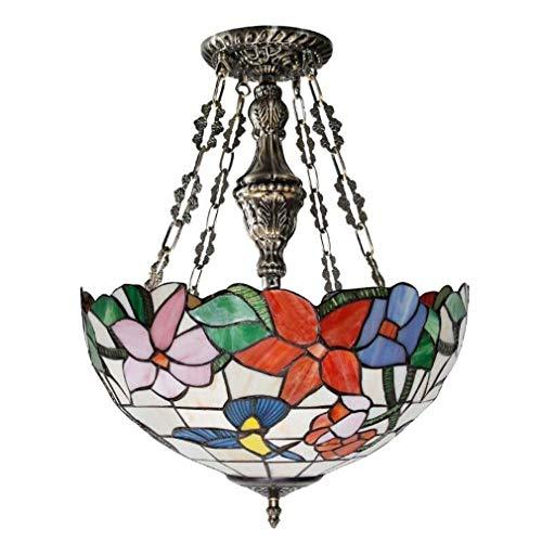 Hanglamp tiffany stijl plafond hanglamp semi inbouw glas in lood kolibrie kap retro kroonluchter 3-5 licht voor eetkamer woonkamer slaapkamer,B20inches
