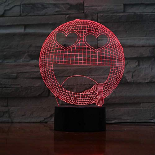 Lámpara de ilusión visual 3D Emoji Smiley Face 7 luces de noche que cambian de color para la decoración del hogar Dormitorio Acrílico Led Art para niños Regalo de cumpleaños de Navidad