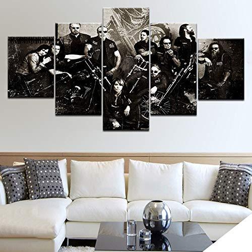 Yyoutop 5 Panel HD Gedruckt Sons of Anarchy TV Serie Wand Poster Drucke Auf Leinwand Kunst Malerei Für Zuhause Wohnzimmer Dekoration Rahmen-Kein Rahmen