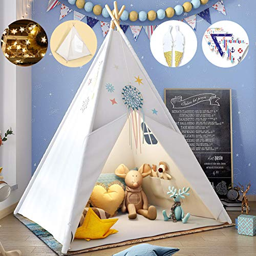 Teepee Play Tent for Kids with Gifts Star Lights, Coloured Flag, Feathers, Carry Case, Indoor...