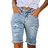 Junjie Pantalones Vaqueros Rotos Mujer Casual Pantalón Vaquero Corto Mujer con Bolsillos Shorts Mujer Vaqueros con Borla Pantalones Cortos para Mujer Ideal para Vida Cotidiana,Cita,Fiesta