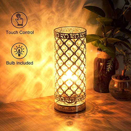 Crystal Table Lamp Touch Control Dimmable Accent Desk Lamp Bedside Modern Table...