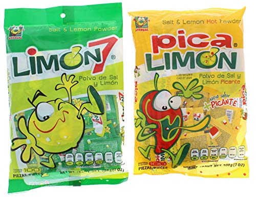 Limon 7 Salt & Lemon Powder and Salt & Lemon Hot Powder Mexican Candy 100 Pieces (200 Pieces Total)