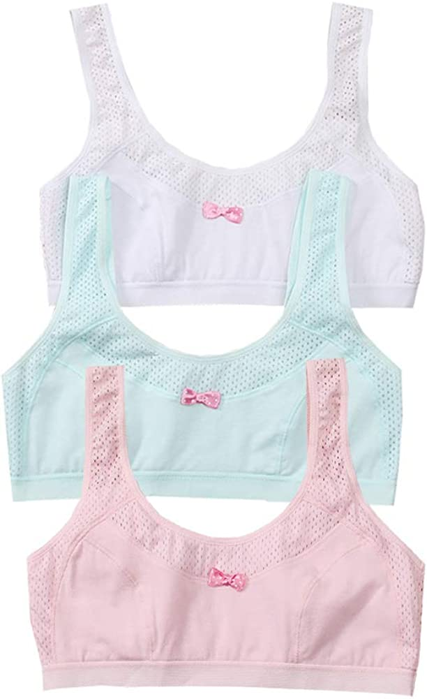 YUMILY Age 10-16 Girl's Breathable Mesh Training Bra Bowknot Pattern Pullover Cotton Bralette