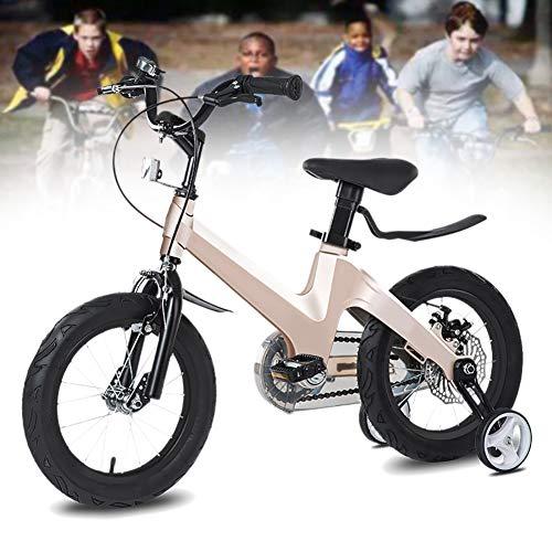 NEWPIN Magnesium legering Verstelbare hoogte De fiets als een geschenk voor jongens, zadel en stuur in hoogte verstelbaar, Gesloten kettingkast, 2 remmen, anti-slip pedaal, trainingswielen