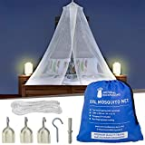 Universal Backpackers Mosquito Net for Single to King-Sized Beds – 2 Openings or Fully-Enclosed Bed Canopy – Conical Design for Decoration or Travel – Free Bag & Hanging Kit for Easy Setup